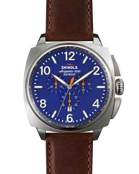 Shinola 46mm Brakeman Chronograph Watch, Blue/Brown