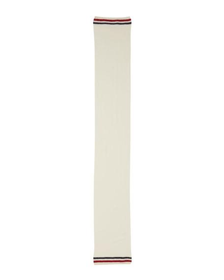 Moncler Men's Reversible Wool Logo Scarf, White
