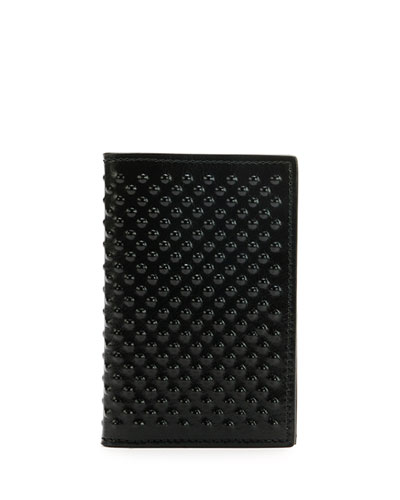 Studded Calfskin Pocket Organizer, Black