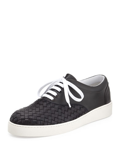 Woven Leather Sneaker, Navy/Black
