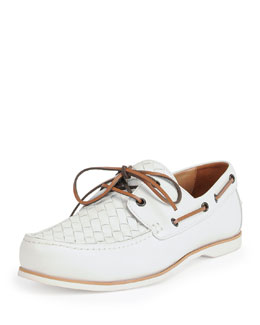 Woven Leather Boat Shoe, White