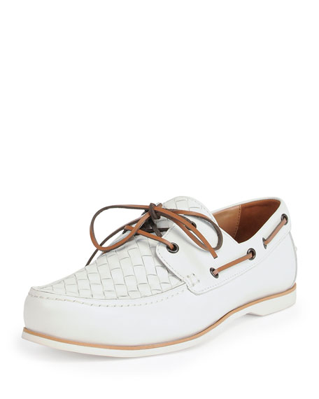 Bottega Veneta Woven Leather Boat Shoe, White