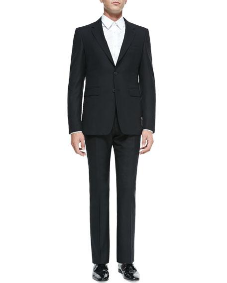 Modern-Fit Wool Suit, Black