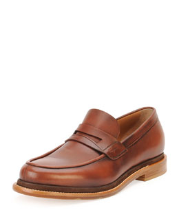Norway Calfskin Penny Loafer w/ Contrast Sole, Brown