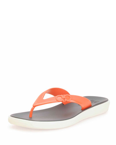 Nizza Sandal with Raised Gancini Detail, Orange