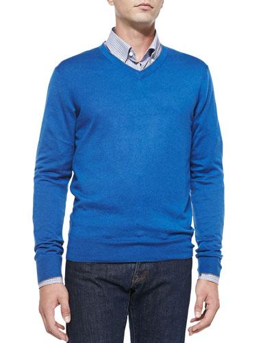 Cashmere-Silk V-Neck Sweater, Blue/Gray