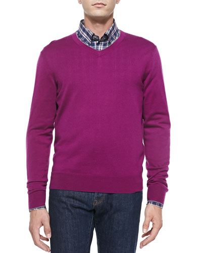 Cashmere-Silk V-Neck Sweater, Fuchsia/Gray