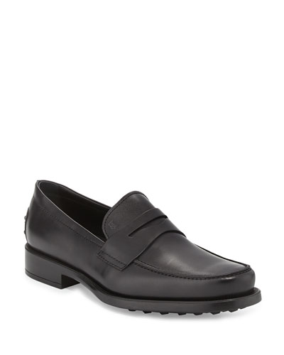 Boston Leather Penny Loafer  Black
