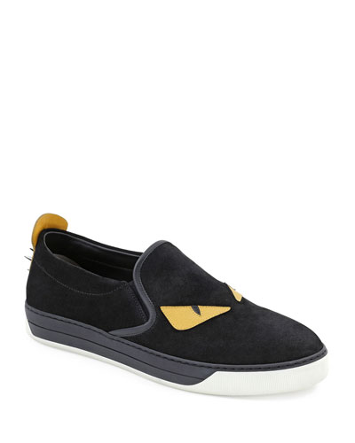 Fendi	 Monster Slip-On Sneaker, Black