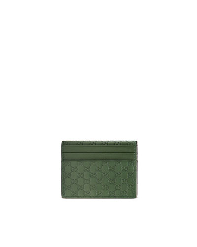 Microguccissima Leather Card Case, Green