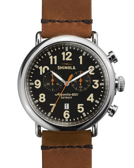 Shinola 47mm Runwell Chronograph Men's Watch, Black/Tan