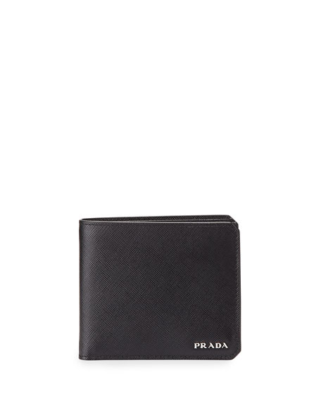 Textured Saffiano Leather Double Billfold, Black