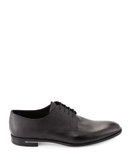Prada Saffiano Leather Lace-Up, Black