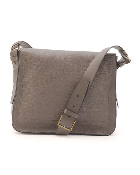Men's Leather Messenger Bag, Slate