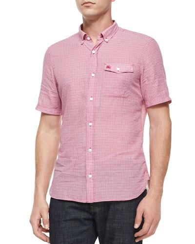 Micro-Gingham Short-Sleeve Shirt, Red