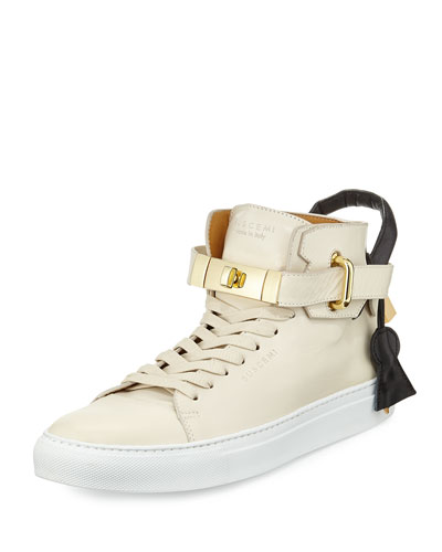 100mm High-Top Sneaker, Cream/Black