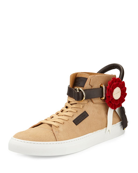Buscemi 125mm Triple Crown High-Top Sneaker, Tan/Brown/White