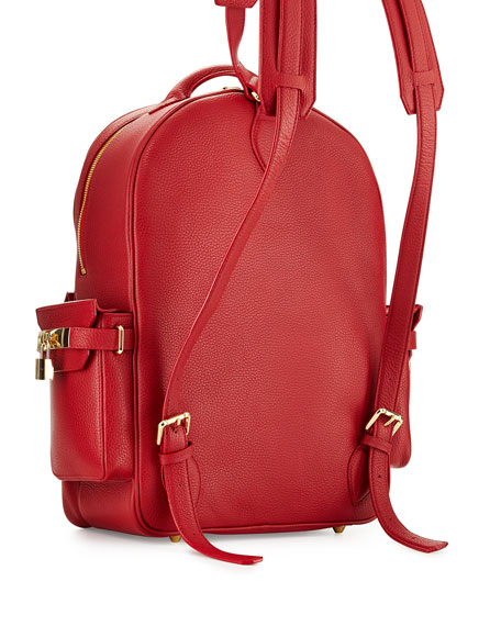 PHD Large Leather Backpack, Red