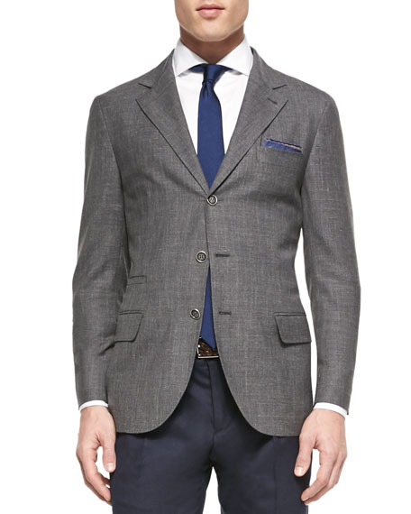 Brunello Cucinelli Wool-Blend Flamed Blazer, Gray