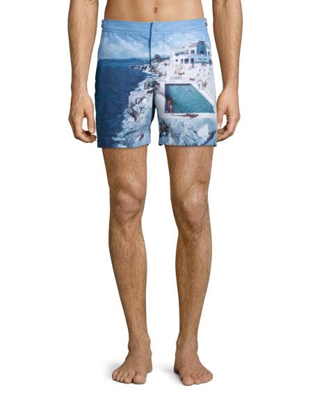 ORLEBAR BROWN Bulldog Roc Pool-Print Swim Trunks - White Size 28