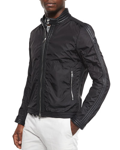 Daquin Quilted Front-Zip Nylon Moto Jacket, Black
