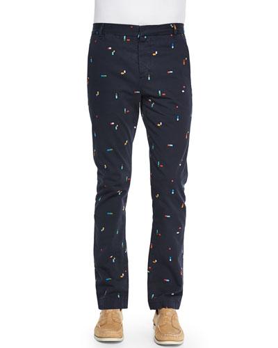 Embroidered Broken-Rainbow Flat-Front Pants, Navy