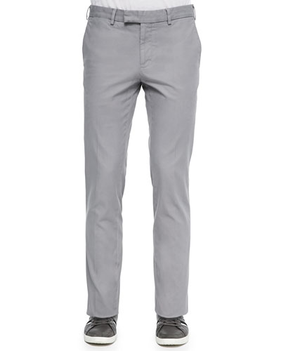 Brushed Stretch Twill Pants, Gray