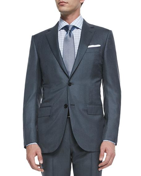 Ermenegildo Zegna Two-Piece Wool/Silk Pindot Suit, Gray