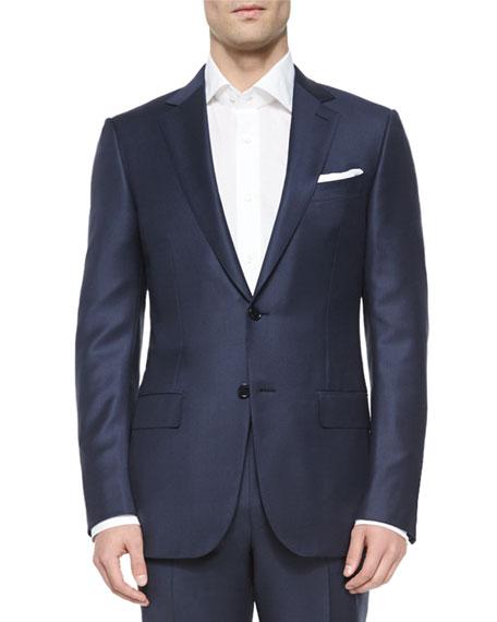 Ermenegildo Zegna Trofeo Wool Tonal-Check Suit, Navy