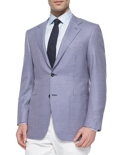 Houndstooth Two-Button Wool Blazer, Purple