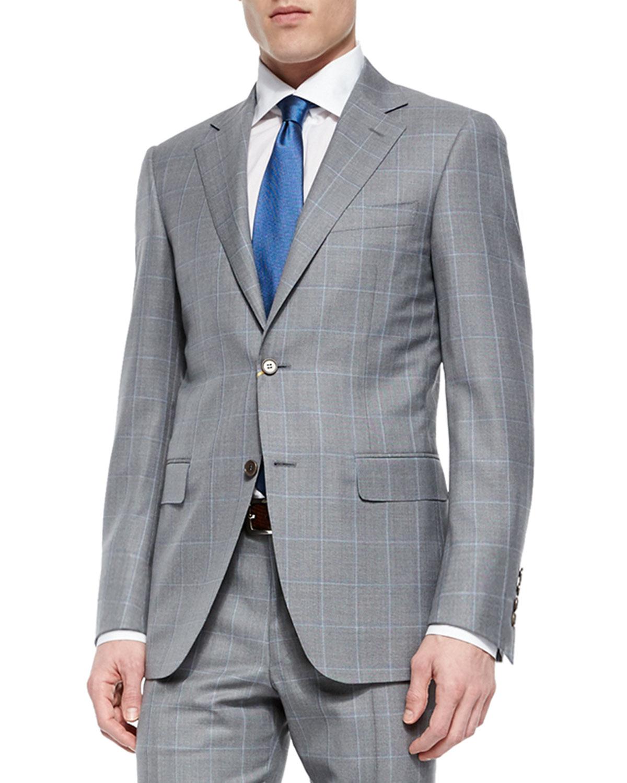 Canali Windowpane Two-Piece Wool Suit, Light Gray