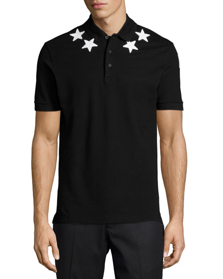 Star-Print Knit Polo Shirt, Black