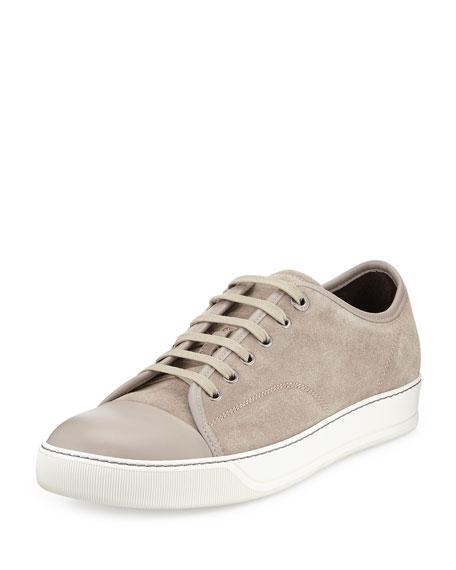 Lanvin Matte Cap-Toe Low-Top Sneaker, Beige