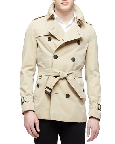 Short Cotton Trenchcoat, Tan