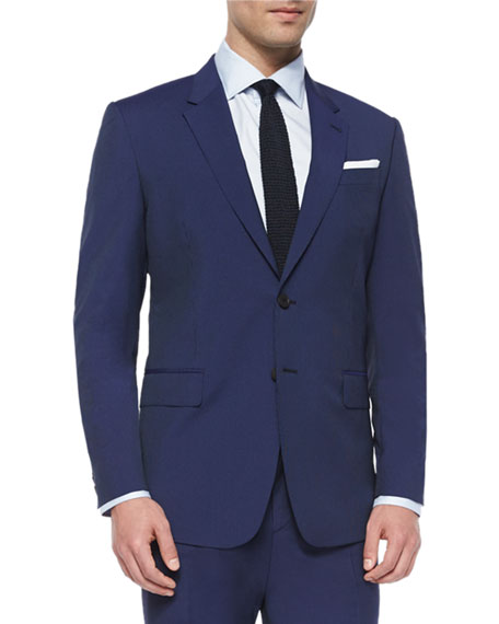 Hairline Stripe Two-Piece Suit, Blue