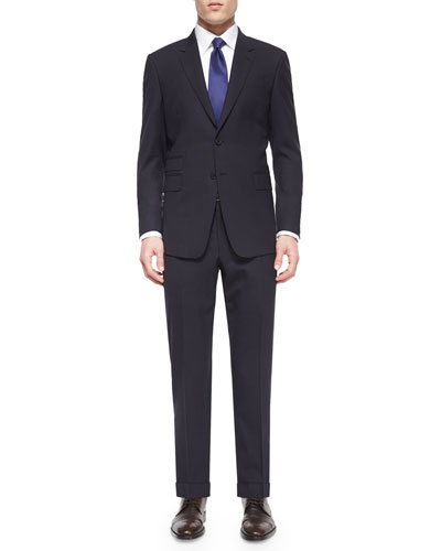 Mini-Check Two-Piece Wool Suit, Black/Purple