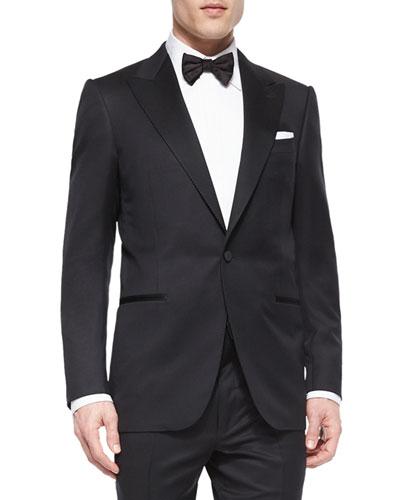 Peak-Lapel One-Button Wool Tuxedo  Black
