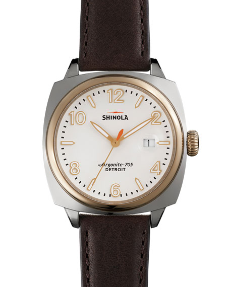 Shinola 40mm Brakeman Watch with Leather Strap, Brown/Gold