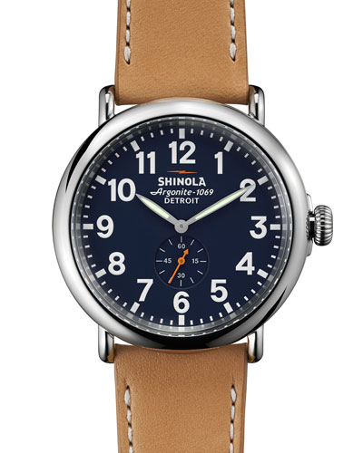 47mm Runwell Leather Strap Watch