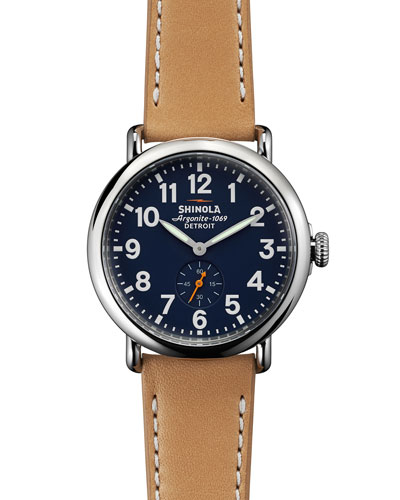 41mm Runwell Leather Strap Watch, Brown/Blue