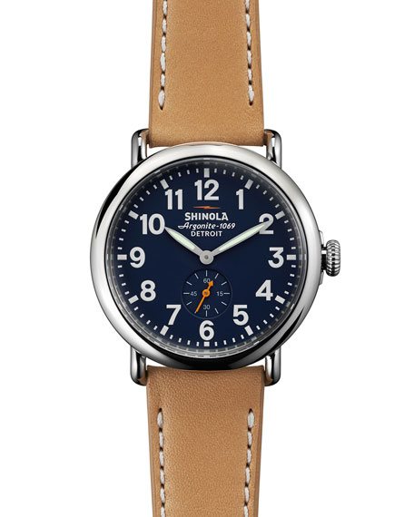 Shinola 41mm Runwell Leather Strap Watch, Brown/Blue