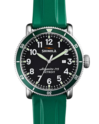 48mm Runwell Sport Watch with Rubber Strap, Green