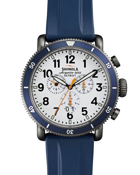 Shinola 48mm Runwell Sport Chronograph Watch with Rubber Strap, Navy