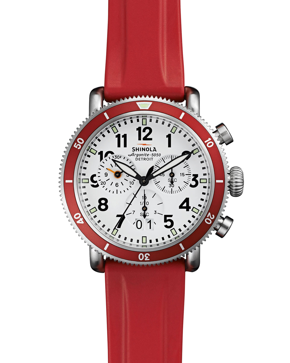 99be982fa Shinola 42mm Runwell Sport Chronograph Watch with Rubber Strap, Red ...