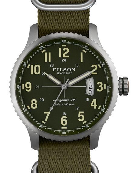Filson 43mm Mackinaw Field Watch with Nylon Strap, Green