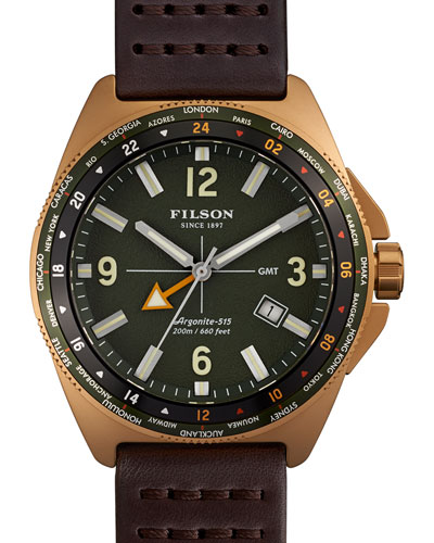 44mm Journeyman GMT Watch with Leather Strap, Brown/Green