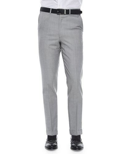 Solid Wool Trousers, Light Gray