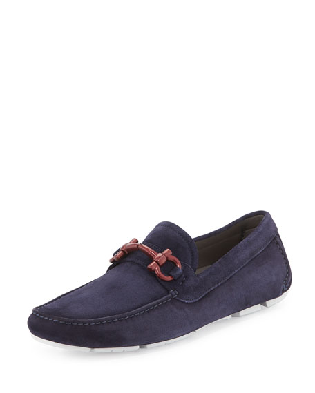 Limited Edition Suede Gancini Driver, Navy