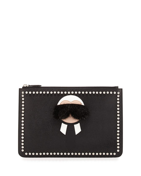 Fendi Karlito Pouch with Mink Fur Detail