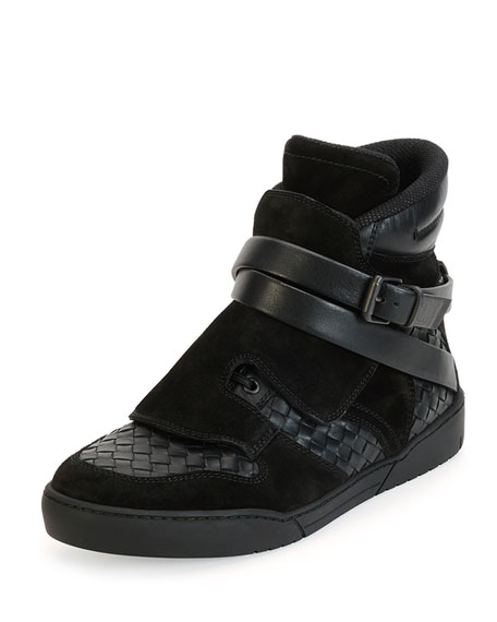 Bottega Veneta Hawk Woven High-Top Sneaker with Buckle